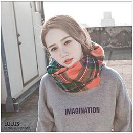 多彩格紋圍巾
