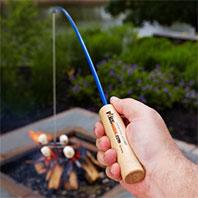 親子燒烤的釣燒竿